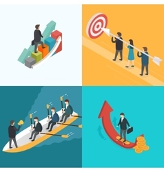 Business growth teamwork target concept vector