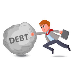 businessman fight with debt vector image vector image