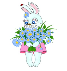Cartoon bunny with a big bouquet of flowers daisie vector