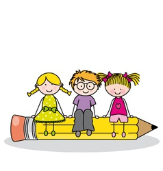 children sitting on a pencil vector image vector image
