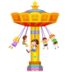 Children swinging in circle vector image