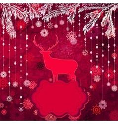 Christmas deer template card vector image vector image