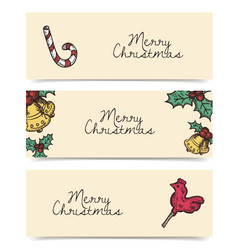 Christmas horizontal banners vintage drawings vector