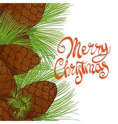 Christmas tree pine cones vector image vector image