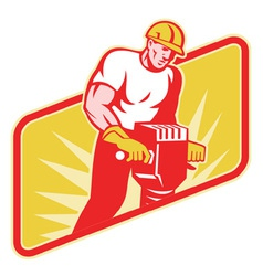 Construction worker jackhammer vector