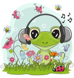 Cute cartoon frog on a meadow vector