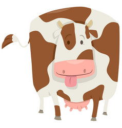 Cute spotted cow character vector