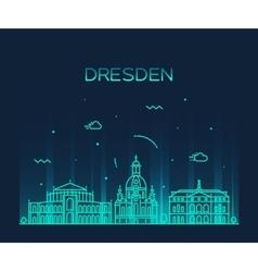 Dresden skyline linear style vector