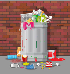 Garbage bin full of trash overflowing container vector