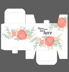 Gift box design template with nature pattern vector