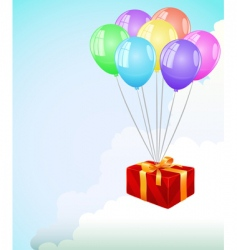 giftbox and balloons vector image vector image