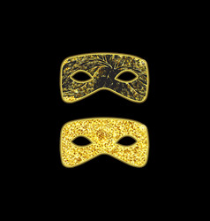 Gold masquerade masks vector
