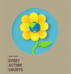 Happy earth day paper flower quote vector