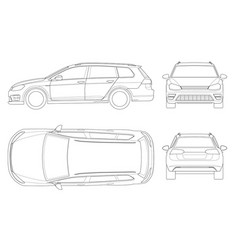 hatchback car in outline compact hybrid vector image vector image