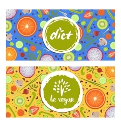 Healthy vegan diet horizontal flyers set vector