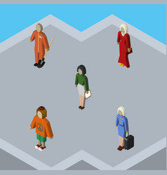 Isometric person set of cleaner lady pedagogue vector