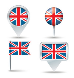 Map pins with flag of United Kingdom vector image