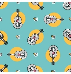 Music seamless pattern acoustic guitar isolated vector