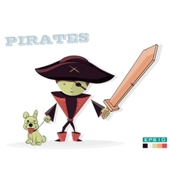 Pirate with a dog on white background children vector