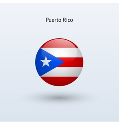 Puerto rico round flag vector