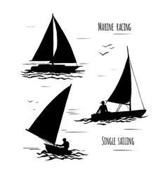 sailing silhouette on white background vector image vector image