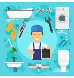 Sanitary engineering plumber at plumbing work vector