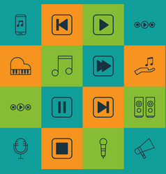 Set of 16 multimedia icons includes mike vector