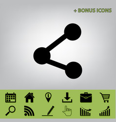 Share sign black icon at vector