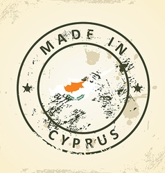 Stamp with map flag of Cyprus vector image vector image