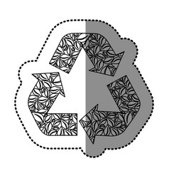 sticker monochrome recycling symbol with arrows vector image vector image