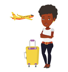 young woman suffering from fear of flying vector image vector image
