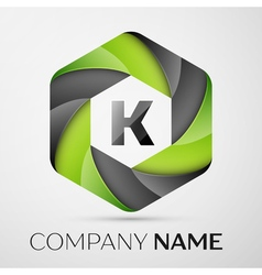 K letter colorful logo in the hexagonal on grey vector