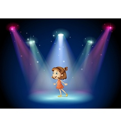 A young dancer at the center of the stage vector