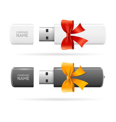 Opened usb flash drive white and black witch bow vector