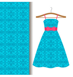 Dress fabric with blue arabic pattern vector