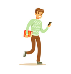 a young man walking and holding a book and a vector image