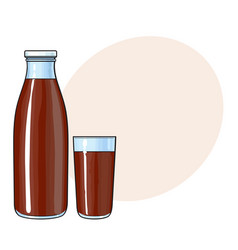 Side view drawing of bottle and glass with vector