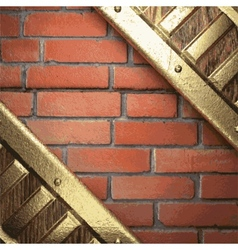 Gold on brick background vector