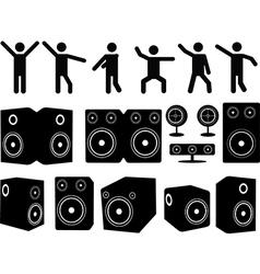 Speakers and people dancing vector image