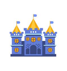 Blue fairytale royal castle or palace building vector