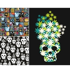 Set of with cute skulls and flowers vector