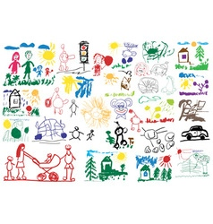 Stylized childrens drawings vector