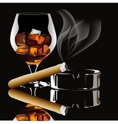 Cognac and cigar with smoke vector