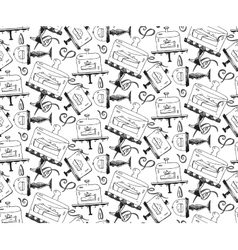 Seamless hand draw pattern with pieces of cakes vector