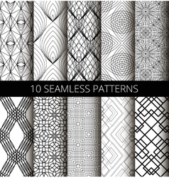 Black White Line Patterns Set vector image