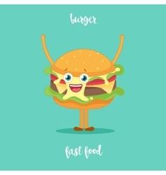Happy hamburger cartoon character waving vector