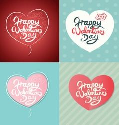 Four happy valentines day hand drawn lettering vector