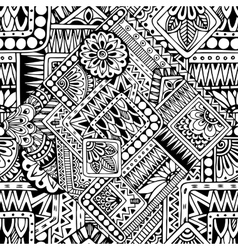 Seamless asian ethnic floral retro doodle black vector