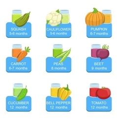 Baby food infographic set of stickers vector