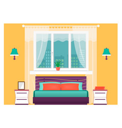 Bright bedroom interior with furniture home vector